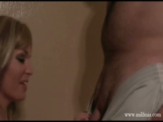 Hot blonde milf sucking hard cock