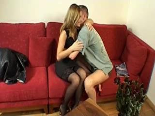 Clara Morgane Black Stockings Red Couch