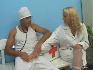 Horny Blonde Nurse Gets Fucked and Jizzed in Her Mouth in White Stockings