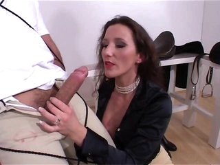Tied man gets handjob and teasing suck