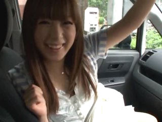 Horny Asian Teen Hirono Imai Gets her Hairy Pussy Teased in a Moving Car