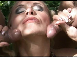 Horny Blonde Gets DP and Facial Cumshot Outdoors