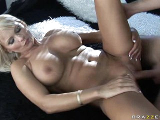Alluring Winnie spreads her slits wide feeling the thick cock sliding in her