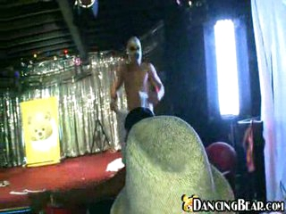 Masked naked dancer groped by women