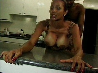 Black slut wit enormous tits nailed in kitchen