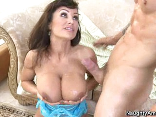 Busty hot Lisa Ann gets her precious boobies sauced with fresh cum