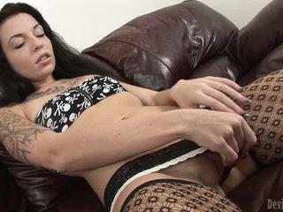 Brunette in stockings Aria Aspen masturbating hard