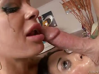 Deepthroat action with Angelina Valentine and Lyla Storm