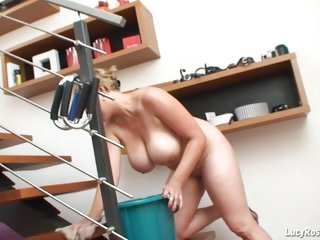 Busty housewife Lucy Rose cleans naked
