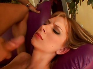 Brooke Biggs gets her face blasted with warm cum