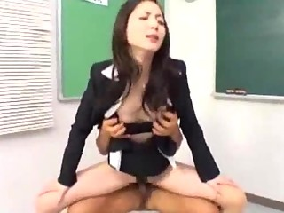 Teacher Sucking Cocks Fucked By 2 Guys Facial And Creampie In The Classroom