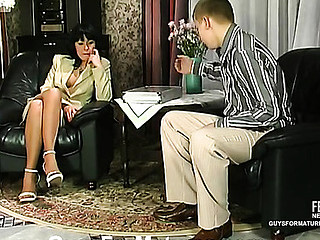 Freaky aged chick is about to give her co-worker a fresh fucking sensation