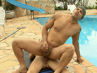 Well-endowed ladyboy provokes a poolguy itching for a hardcore anal session