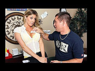 Samantha knows that large mounds equals large tips, and this babe doesn't mind using 'em at all. Until one of the clients has a problem with it, and complains to Mick the manager. Now Mick makes Samantha re-enact anything that babe did. Initially, Mick  doesn't realize how turned on Samantha will make him. Samantha makes a decision to take advantage of this by fucking Mick silly in order to secure her job.