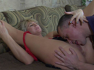 Horny guy tasting older feet and mellow cookie and putting his tool to work