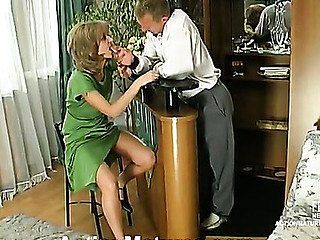 Steamy mamma can do anything in frantic fuck-n-engulf action with her barman