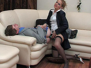 Stunningly looking chick showing her unyielding surprise beneath business petticoat