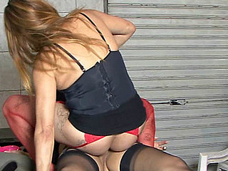 Red-stockinged gal having wild lesbo sex with a black-stockinged shemale