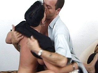 Busty tattooed European brunette rides his cock hard and gets cum on her tits