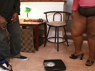 Obese ebony with big saggy tits gets hammered in her fat twat by a big black boner