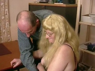 Mature german chubster knows that spit makes for great lube