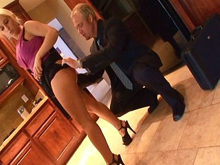 Young blonde secretary invites the boss over for a hot fucking good time