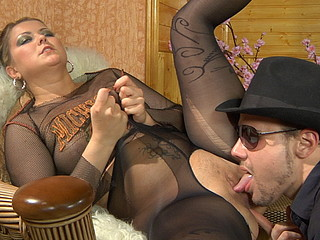 Stacked gal gets love tunnel eaten and boned thru her fashion sheer-to-waist hose