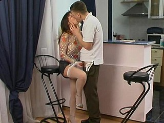 Randy chick in lacy white nylons ready to jump on pulsating penis non-stop