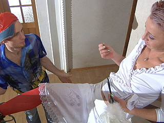 Stockinged mother i'd like to fuck seducing a guy with her topless look into a sexy jock break