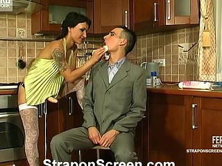 Strap-on armed sweetheart in nylons showing sissy guy what a real fuck-fest is