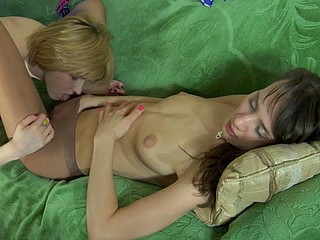 Fiery sweetheart fits on her control top hose aching for lesbo intercourse