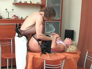 Chubby housewife ironing in advance of getting tricked into hawt engulf-n-fuck action