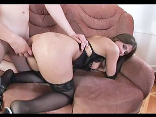 Natalie is really horny and that babe's not going to expect for her guy to make her cunt pop! Widening her haunches wide this babe starts fingering her hirsute hole and beckons her stud in to finish the wet job!