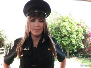 Hottie blonde police women is knocking at this bad ass dude door. She starts to get horny while this black guy is licking her big round tits and then she arrests him. This bitch is a corrupt cop so she takes some bride..probably a big hard cock in her mouth? Look at those big hot tits, sexy legs and slutty face, how hard will she get fucked?