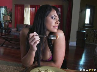 This hot brunette with nice body is taking dinner with to guys. After few minutes she remain in the kitchen with only one guy who start to kissing and touch her big boobs. Now the slut is horny and she take the male erectile cock and start sucking it very nice and slowly.
