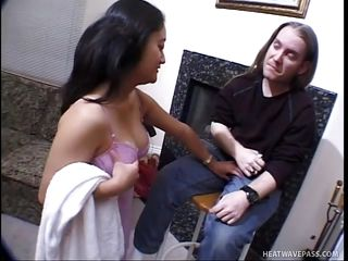 This guy with long hair gets his hard penis sucked my a cute midget brunette. She takes off his jeans and stars sucking his penis and balls with her pretty moth before the get in position 69. Now the guy licks her pussy as she sucks his dick, who will cum first?