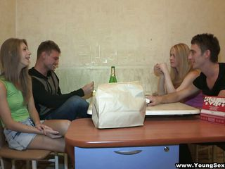 Vera and Alice are very cute young teens who want some dick. That's where Ivan and Ivan come (or is it cum?) in. Vera's hot little redhead self is in the bathroom already, so one of the Ivans goes in to keep her company, and ends up getting his dick sucked