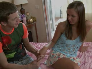 Mattehew gives his best to convince this hot teen to fuck it him and in the end he makes her horny and ready to fuck. After this lucky guy undresses her revealing those sexy breasts that he loves to lick he takes off her blue panties and fingers her pussy from behind while licking her anus. This slutty teen loves it and decides to give him a nice blowjob. Is she going to get cum all over her face?