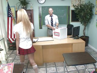 Jessie Rogers is a naughty schoolgirl and her teacher notice her perfect round ass, touching it and making her horny. She enters the classroom after him and puts his hands on her big hot breasts making him lick those gorgeous tits, taking off her clothes and revealing that perfect body. Look at this perfect teen, it makes you wanna fill her with you sperm and put her swallow every single drop