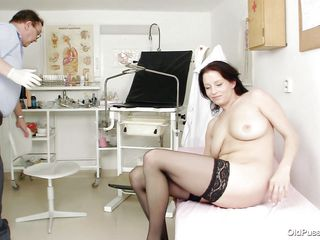 Look at her, she is a pretty hot brunette milf and as she takes a sit on the gynecologist chair and spreads her legs you know that he will do interesting things with her ass. For starters he inserts a thermometer in her tight anus and then gapes her pussy hard so we can she her insides. Her cunt is hot on the inside just like on the outside and it looks like a few loads of hot jizz will look perfectly inside there.
