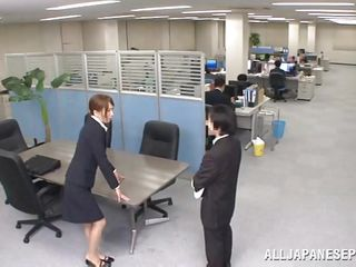 Now that is not a way to treat your work place! The slutty Japanese employee goes on the desk and pisses on it. She is a bit shy and worried about what her colleagues will think, luckily this one supports her and even more then that, he gives the slut his dick for a rub and much more. Wonder what she will do next?