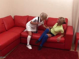 This is not your average helpless granny. She is the wolf as she makes the young teen do her bidding with the help of her hockey stick. She is making her remove her clothes as she reveals her floral panties as a prelude of all the dirty things she is going to do to this helpless girl to satisfy her