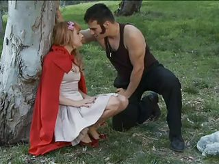 Little red riding hood is sIeeping on the grass. The big bad wolf approaches her and demands her innocence. She wants to go back home to save her grandma. Mean while, another sexy slut arrives first at her grandma`s house. Undressed and having her hands tied up, granny starts fucking the mysterious bitch.