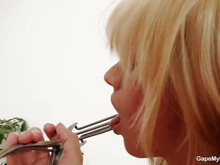 The metal speculum is known for doing his job with precision. This medical instrument can be use not only in scientific and medical purposes but also to gape a pussy for our pleasure. This horny blonde with pretty face and cute tits got one of those tools and uses it before fooling around and grabbing her tongue with it. She plays with her juicy lips and then spreads her vagina showing us how pink and wet she is on the inside. Wouldn't you just love to see some semen inside that pussy?