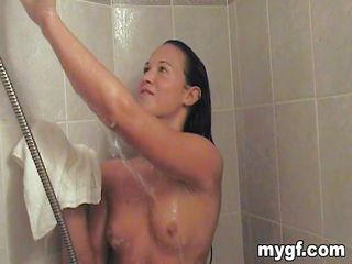 Cheyenne Jewel is a hot brunette that loves to spread her legs and pleasure her pussy after a good hot shower. You can see how much she loves to have that huge cock between her juicy lips and you can see how she would love to have it deep inside her. Do you think she will get a big load of spunk?
