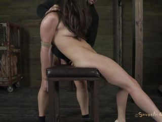 Sexy horny Casey on heels has her hands tied up by Matt. He prepares a chair for her and starts dominating her. He puts his hard cock inside her dirty mouth and throat fucks her. At the same time, he plays with that filthy pussy of hers with a vibrator. With her head downwards he cums on Casey`s pretty face. Check out if this slut cums too!