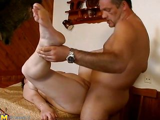 This mature chubby slut is in lied now on the table and a guy with a long penis fucks her large vagina deep and hard. After few moments the brunette bitch rides male cock while they are on the floor. She enjoys this fuck and screams of pleasure because she knows the guy will cum inside her pussy.