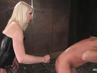 Baldie here thinks that cute fragile blonde chicks can't fuck the shit out of him. That is completely wrong and this blonde proves him! She putted him in a bondage device and showed him her huge strap on dildo, that dildo goes right in his anus and it goes so deep that he moans with pain, probably with pleasure too.