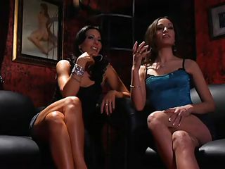 These lesbians are fucking horny and there's one girl here that have their attention. A hot ass stripper blonde that deserves to be licked. She approaches the whores and gives one of them a mean pussy lick while the other fingers her cunt. The blonde babe then lays on the couch and they form a nice threesome