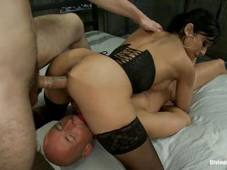 The bald man is in big trouble and he likes it a lot! A brunette milf with big breasts, shaved vagina and sexy ass is dominating him and receives a guy's cock in her pussy at the same time. She enjoys being between two hard dicks and loves to be fucked while she sits on another man. Will she receive sperm from both of them?
